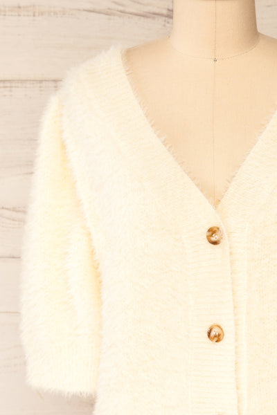 Douai Cream Buttoned Fuzzy Cardigan | La petite garçonne front close-up