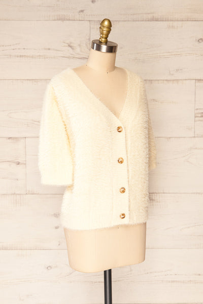 Douai Cream Buttoned Fuzzy Cardigan | La petite garçonne side view