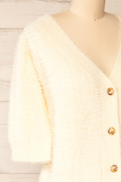 Douai Cream Buttoned Fuzzy Cardigan | La petite garçonne side close-up