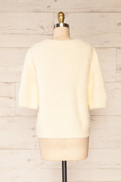 Douai Cream Buttoned Fuzzy Cardigan | La petite garçonne back view