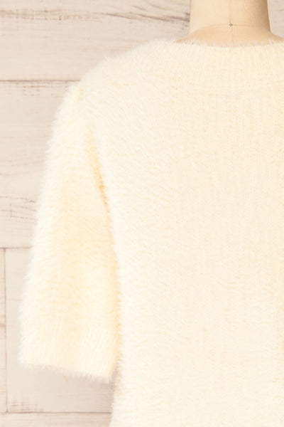 Douai Cream Buttoned Fuzzy Cardigan | La petite garçonne back close-up