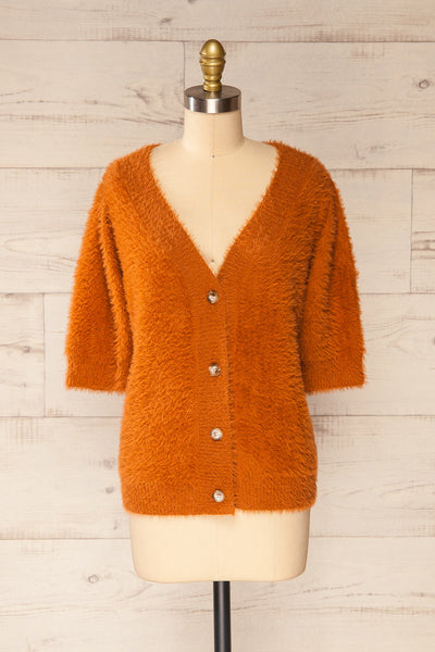 Douai Rust Orange Buttoned Fuzzy Sweater | La petite garçonne front view