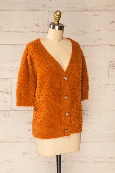 Douai Rust Orange Buttoned Fuzzy Sweater | La petite garçonne side view