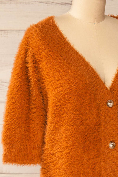 Douai Rust Orange Buttoned Fuzzy Sweater | La petite garçonne side close-up