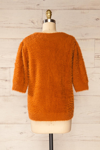 Douai Rust Orange Buttoned Fuzzy Sweater | La petite garçonne back view