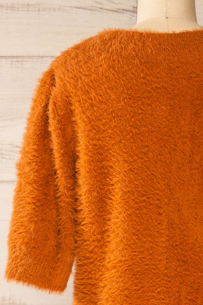 Douai Rust Orange Buttoned Fuzzy Sweater | La petite garçonne back close-up