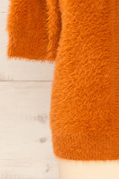 Douai Rust Orange Buttoned Fuzzy Sweater | La petite garçonne bottom