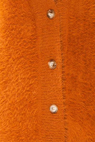 Douai Rust Orange Buttoned Fuzzy Sweater | La petite garçonne fabric