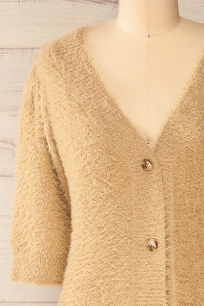 Douai Taupe Buttoned Fuzzy Sweater | La petite garçonne front close-up