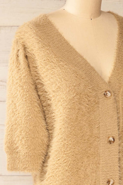 Douai Taupe Buttoned Fuzzy Sweater | La petite garçonne side close-up