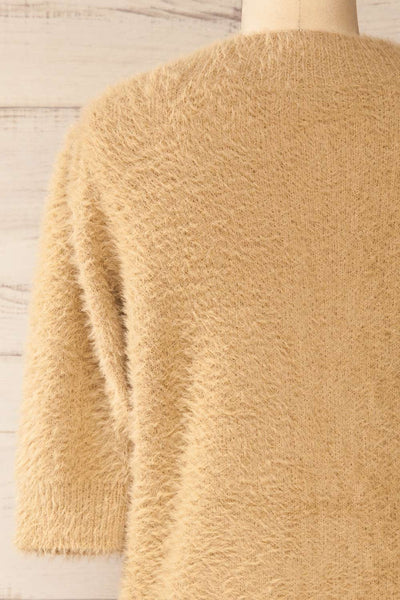 Douai Taupe Buttoned Fuzzy Sweater | La petite garçonne back close-up