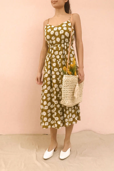 Ninette Khaki Floral Midi Dress | La petite garçonne on model