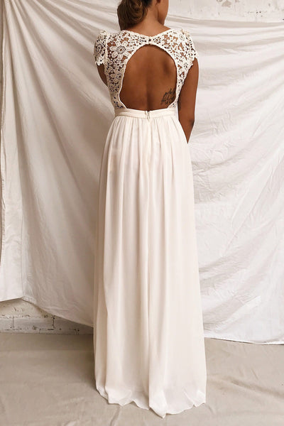 Adalia Cream Lace Bodice Maxi Bridal Gown | Boutique 1861 model back