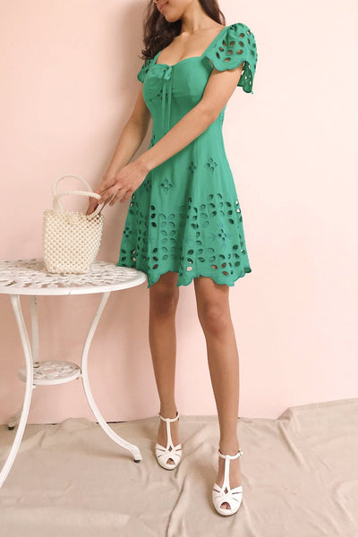 Andreia Turquoise Openwork Short Dress | Boutique 1861 model look