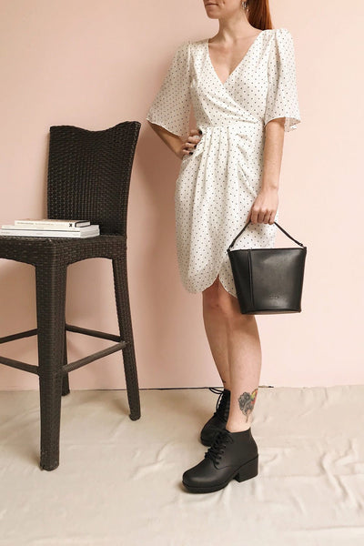 Asceline White Short Dress w/ Polka Dots | Boutique 1861 model look