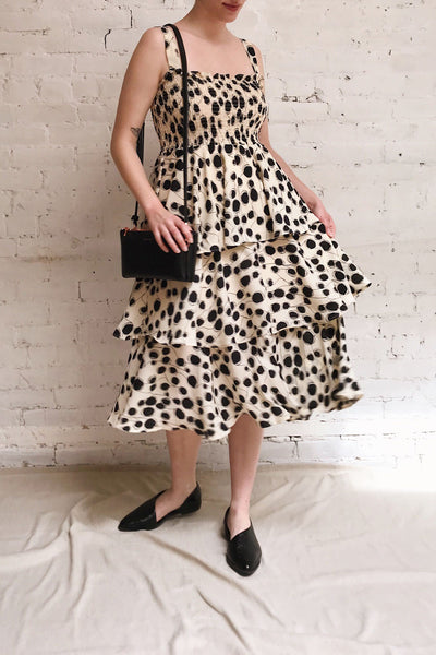 Biscotti Black & White Polkadot Midi Dress | Boutique 1861 model look