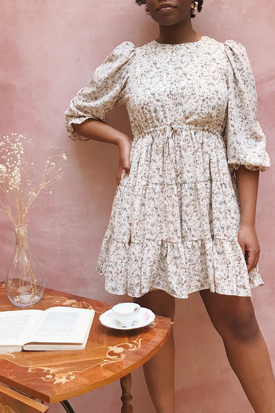 Bricelet Cream Floral Long Sleeve Dress | Boutique 1861 on model