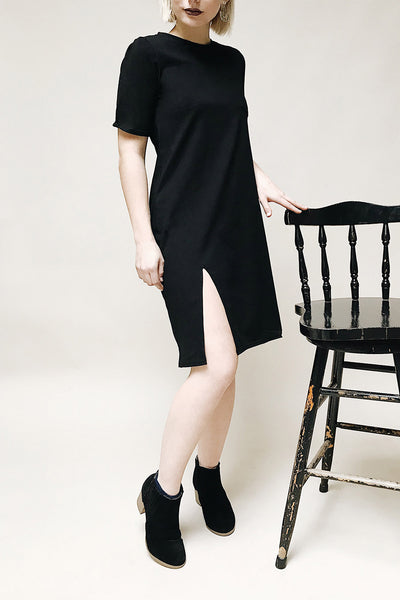 Brusy Black Short Sleeved Tunic Dress | La Petite Garçonne