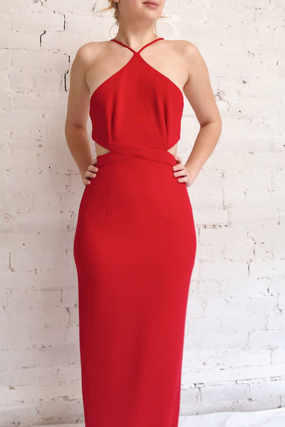 Canalaurco Red Halter Dress w/ Back Slit | La petite garçonne model close up