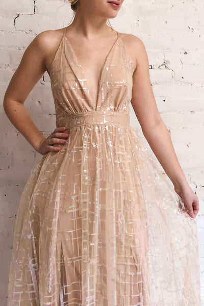 Chandrima Beige Maxi Dress w/ Sequins Tulle | Boutique 1861 on model
