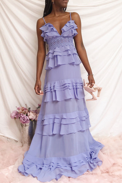 Clematite Lilac Layered Ruffles Maxi Dress | Boutique 1861 model