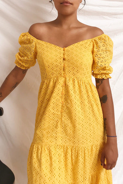 Gloria Yellow A-Line Openwork Midi Dress | Boutique 1861 on model 1