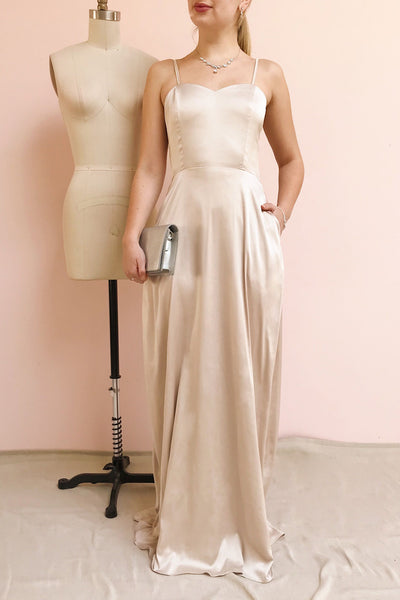 Hellee Cream Beige Silky Maxi Dress | Boudoir 1861 model look