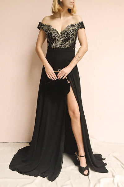 Hermeline Black & Gold Maxi Dress | Boutique 1861 on model