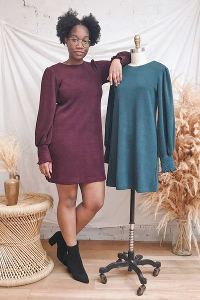 Jaen Burgundy Ribbed Long Sleeve Dress | La petite garçonne