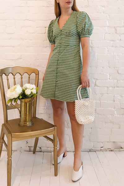 Jirina Green Gingham Short Dress | La petite garçonne model look 1