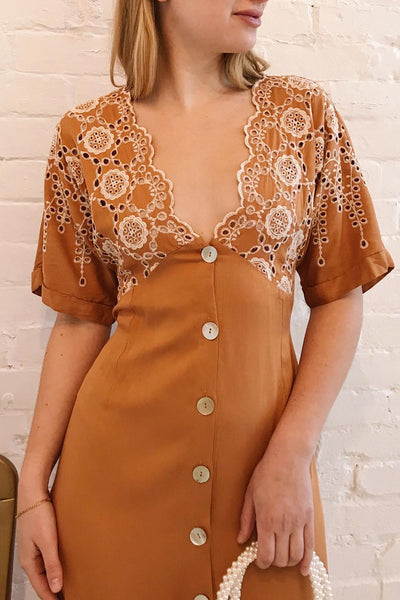 Jodie Camel Orange Button-Up Midi Dress | Boutique 1861 model close up