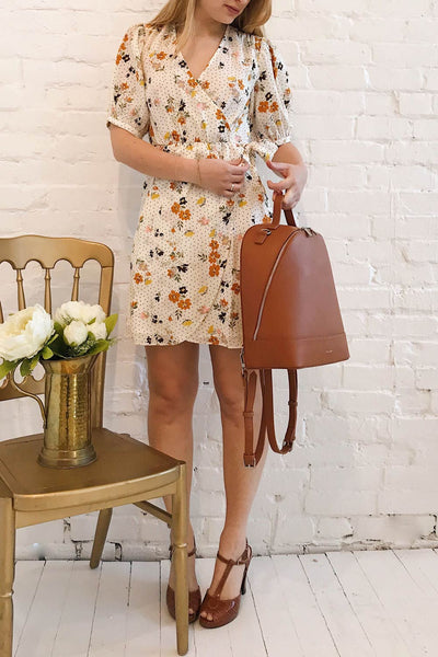 Kassy Beige Floral Patterned Short Dress | Boutique 1861 model look 2