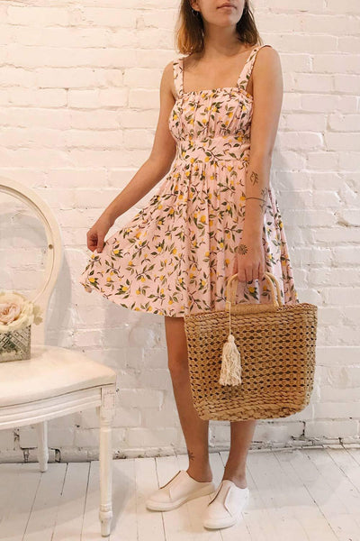 Kudowa Pink Lemon Print Flared Short Dress | Boutique 1861 model look 1