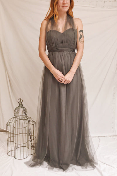 Linaya Charcoal Draped Bustier Empire Gown | Boudoir 1861 on model