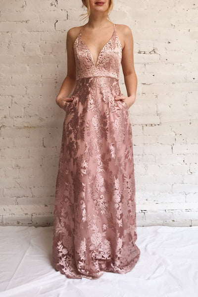 Lyaksandra Pink Floral Embroidered Maxi Dress | Boutique 1861 model look