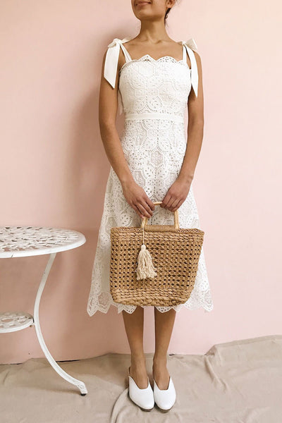 Madeline White Lace Midi Bustier Dress | Boutique 1861 on model