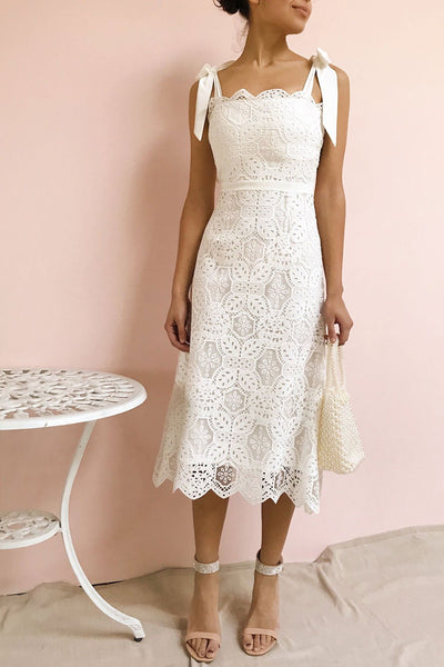 Madeline White Lace Midi Bustier Dress | Boutique 1861 model look