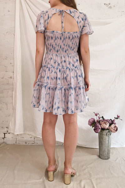 Mahima Lavender Patterned Short Dress | Boutique 1861 model back