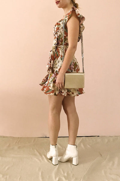 Marietta Floral Off-Shoulder Short Dress | Boutique 1861 model profile