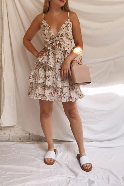 Natane Short Beige Floral Dress w/ Frills | Boutique 1861 on model