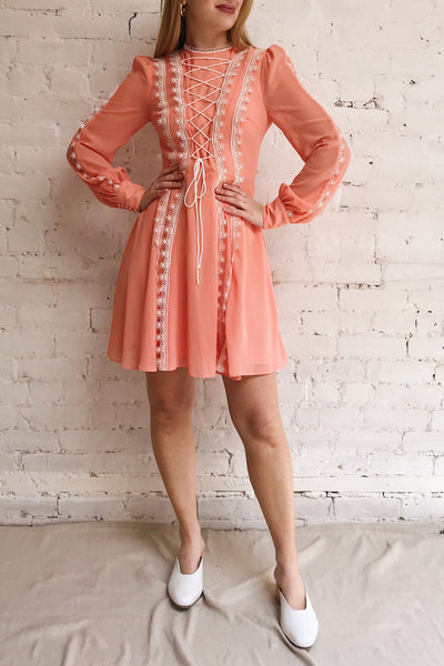 Piegi Peach Coral Long Sleeved Short Dress | Boutique 1861 model look
