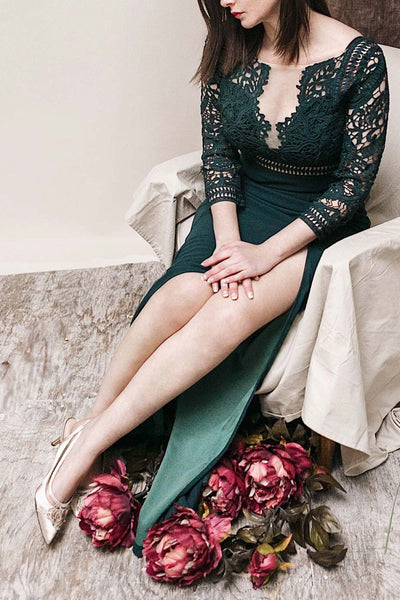 Shafinaz Emerald Green Lace Boat Neckline Maxi Dress | Boudoir 1861