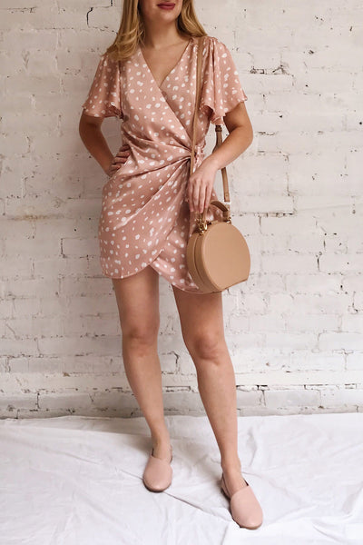 Tryphena Pink Short Sleeved Wrap Dress | La petite garçonne model look