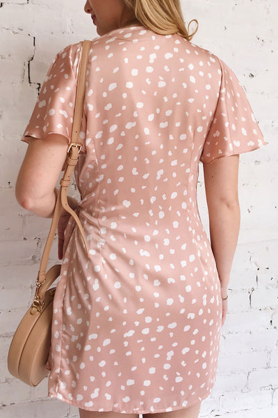 Tryphena Pink Short Sleeved Wrap Dress | La petite garçonne on model