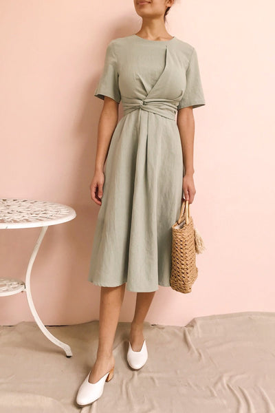 Valthi Blue Linen A-Line Midi Dress | La petite garçonne on model