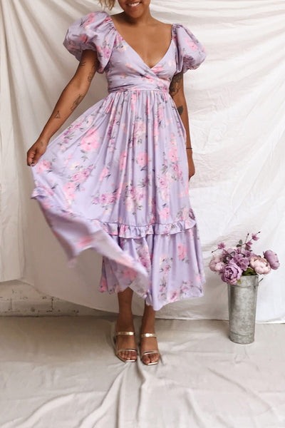 Zandria Lilac Floral Puffy Sleeve Maxi Dress | Boutique 1861 model look