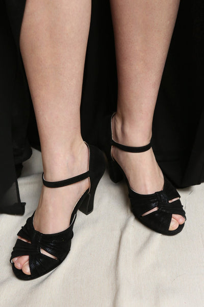 Dryope Black Retro Peep-Toe Heels | Talons | Boutique 1861 on model