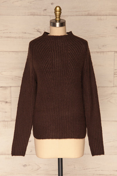 Dufay Marron Brown High Neck Sweater  | FRONT VIEW | La Petite Garçonne