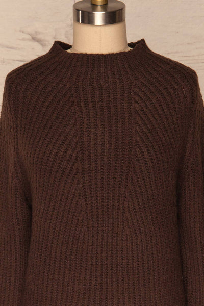 Dufay Marron Brown High Neck Sweater | FRONT CLOSE UP | La Petite Garçonne