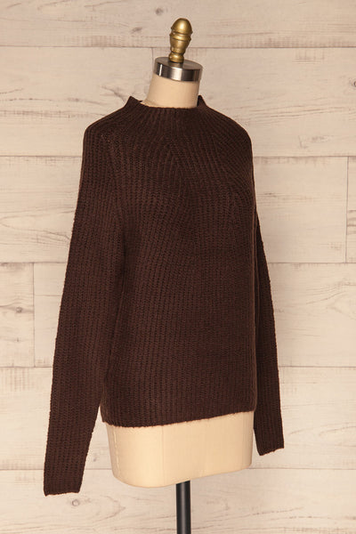 Dufay Marron Brown High Neck Sweater  | SIDE VIEW | La Petite Garçonne